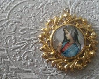Madonna Virgin Mary Gold Coloured Pendant