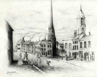 Old Town Landscape Pencil Drawing