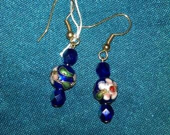 Dark Blue Cloisonne Earrings