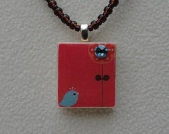 scrabble tile pendant necklace, beaded necklace, bird pendant, gift for her, gift for bird lover, upcycled, stocking stuffer for women,