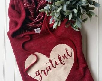 Grateful Heart Cardinal Hoodie, red hoodie, grateful hoodie, thanksgiving hoodie, grateful tee, gratitude, thankful hoodie, grateful heart
