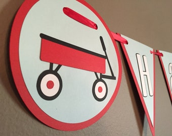 Red Wagon Birthday Banner