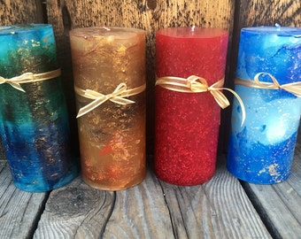 """4""""x9"""" Handcrafted Pillar Candles"""