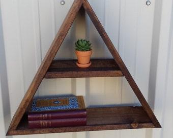 Wood Triangle Shelf - Rustic Wood Floating Geometric Shelving