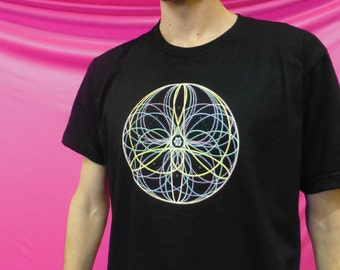 Flower Mandala- 100% Ring-Spun Cotton Shirt - Ten Flowers seen In Poi, Hoop, Flow Arts and Juggling