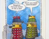 Dr Who tea towel, Dalek, Dr Who fans, Dalek cartoon, geekygift, Dalek tea towel