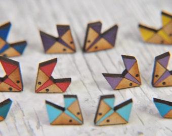 Cute Geometric Lavender Fox Wooden Lasercut Stud Earrings