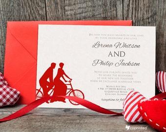 Love Tandem Wedding Invitation - Vintage Wedding Invitation - vintage, love, tandem, bicycle, team, bonding, classical, playful, simple
