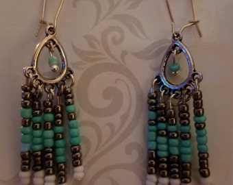 blue and white dangle earring