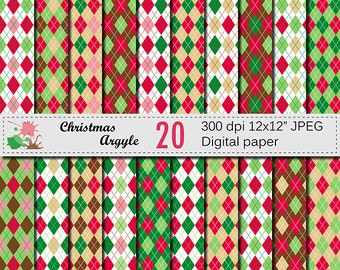 Christmas Argyle Digital Paper Set, Christmas Digital papers, Argyle Digital Scrapbook papers, Red Green Brown Papers, Instant Download