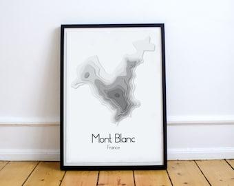 Mont Blanc Minimalist Map Poster, Mont Blanc relief minimalist map