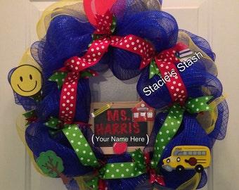 Classroom Wreath, Front Door Wreath, Teacher School Mesh Wreath with Personalized Chalkboard