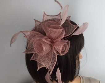 Blush Pink fascinator comb fascinator dusky pink rose flowers wedding races mother of the bride occasion ascot ladies day formal