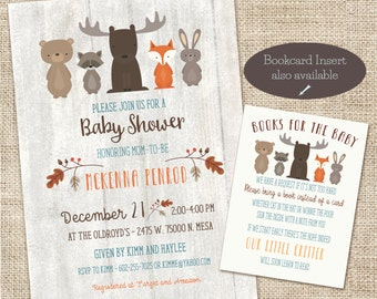 Woodland Baby Shower Invitation, Whitewash Woodland Baby Shower