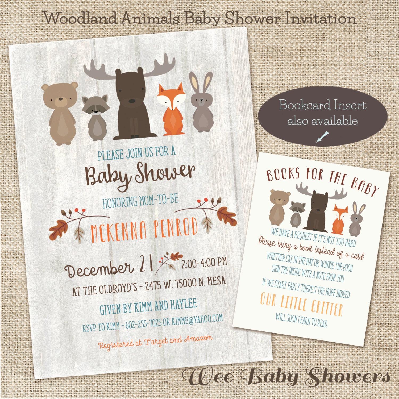 Woodland Baby Shower Invitation Whitewash Woodland Baby
