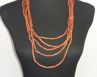 Boho Wooden Necklace - multi strand