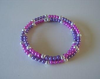 Lilac adult memory wire bracelet