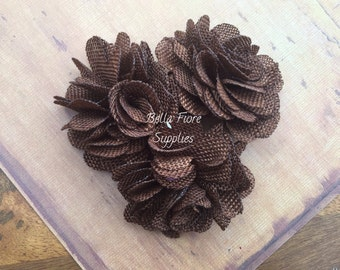 Chocolate Brown Burlap Flowers, 3 inches, Burlap Flowers, Wedding Supply, Burlap Rose