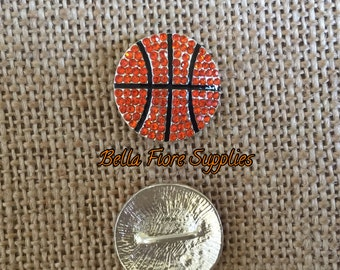 Basketball Rhinestone Button, NBA Sports Rhinestone Button, Basketball Embellishment, DIY Wholesale, Sports Headband
