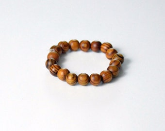 "Men WOOD Beads Bracelet ""Stretch"" One Size Fit All"