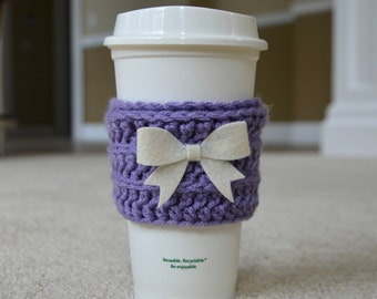 Coffee Cozy in Purple with Cream Bow