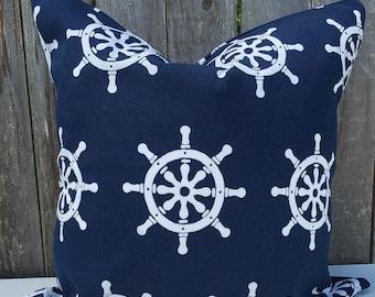 Dark Blue Nautical Pillow Cover
