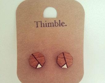 Laser Cut Wood Hexagon Earrings