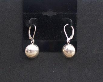 Sterling Silver Earrings,Half Ball Earrings,  Dangle Earrings, Silver Lever Back Ear Wire Earrings, Simple Earrings, Handmade Earrings