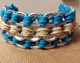 Pop tab bracelet.  Blue/natural hemp twine. Drink Tab Crochet.