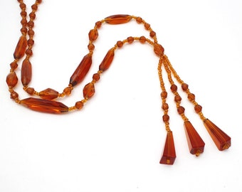 1920s Amber Glass Lavalier Necklace