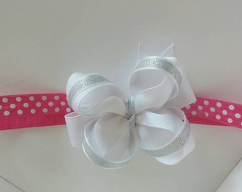 White Bow , Hot Pink Headband