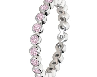 Light Pink Stone Ring 925 Solid Sterling Silver Round Stone Stacking Stackable Stack Band Women