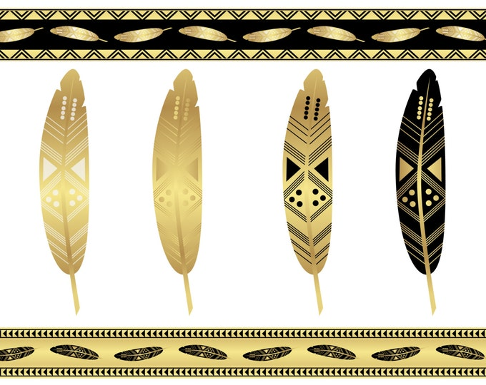 Tribal borders, tribal feather, digital clip art, gold borders, scrapbooking clip art, Geometric borders, INSTANT DOWNLOAD, png, jpg, eps