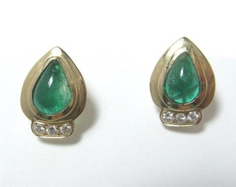 2 Pear Shape Cabochon Colombian Emerald Diamond Earrings