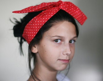 dolly bow wire head band mini red polka dot