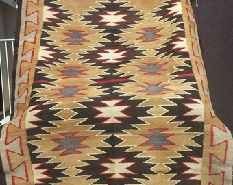 L@@K!! Rare Vintage Navajo Weaving Blanket Native American Indian Eyedazzler Rug 1920's