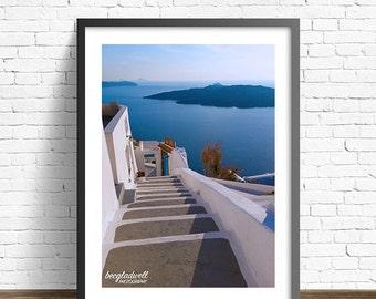Santorini Steps Poster Print ~ Blue ~ White ~ Water ~ Island ~ Photography ~ Greece ~ Greek ~ Travel ~ 8x12~2x16~16x20~20x24~20x30