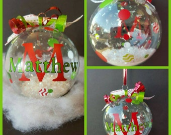Personalized Name Glass Christmas Ornaments