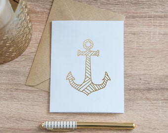 Gold Anchor Card, Gold Foil - Notecard - Friendship Card - All Occasion - Stationary - Adventure - Nautical - Blank Card
