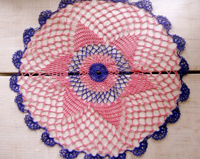 14 inch Pink Purple Crochet Lace Doily, Victorian Style Home Interior Decoration, Crochet Tablecloth, Gift for Her, Housewarming Gift, Decor