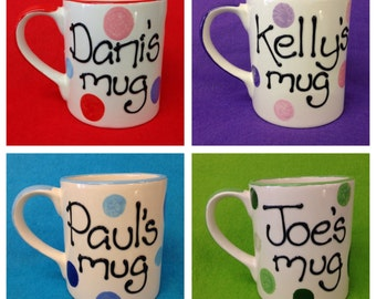 Personalised Spotty Mug - green