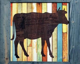 Cow, Farmhouse Decor, Country Decor, Farm Decor, Farmhouse Art, 15x15, Rustic and Distressed Wood Frame, Cow Decor, Cow Art, Farm Art.