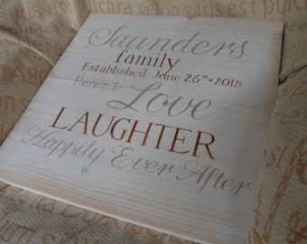 Here's to Love laughter and Happily Ever after wooden wedding plaque