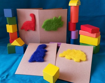 Needle felt card dinosaur motif Triceratops - wide range of colours available