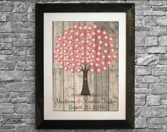 Wedding Guest Book Alternative Tree, Wedding Guest Book Print, Guest Book Poster, Guest Book Free Pens, 16 x 20 inches (40 to 125 guests)