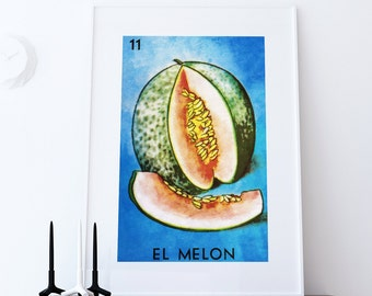 Loteria El Melon Mexican Retro Illustration Art Print Vintage Giclee on Cotton Canvas or Paper Canvas Poster Wall Decor