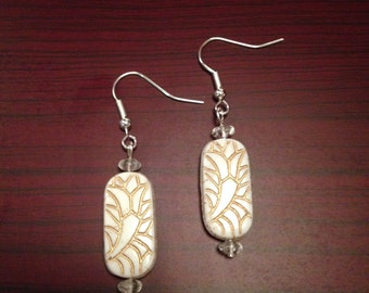 Simple White and Gold Earrings