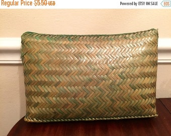SUMMER CLEARANCE Large Vintage zigzag basketweave clutch, shades of green