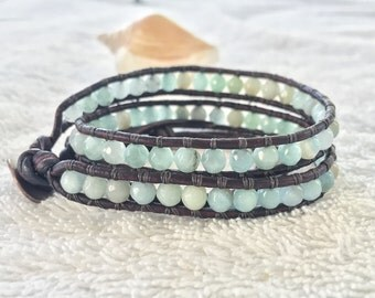 Faceted Amazonite Wrap Bracelet -Double Leather Wrap Bracelet - Antique Brown Leather - Beachy Bracelet Gemstone Bracelet Amazonite Jewelry
