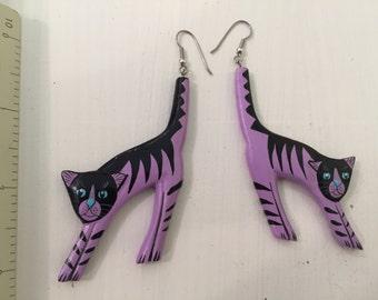 Handmade Purple Striped Scaredy-Cat Earrings